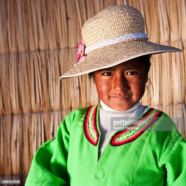 Small girl on Uros floating island
