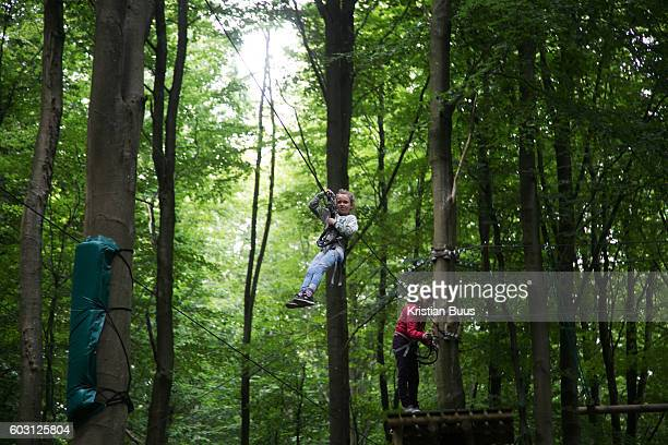 A small girl rides across a zip wire high up in the trees in VejleDenmark 14th of August 2016 Gorilla Park is an adventure play ground set high up in...