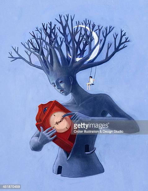 Small girl sitting on woman tree