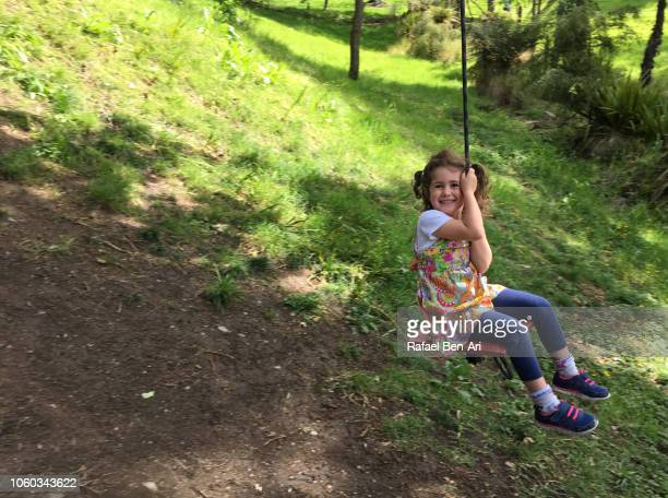 Small Girl Swinging on a Tree Swing