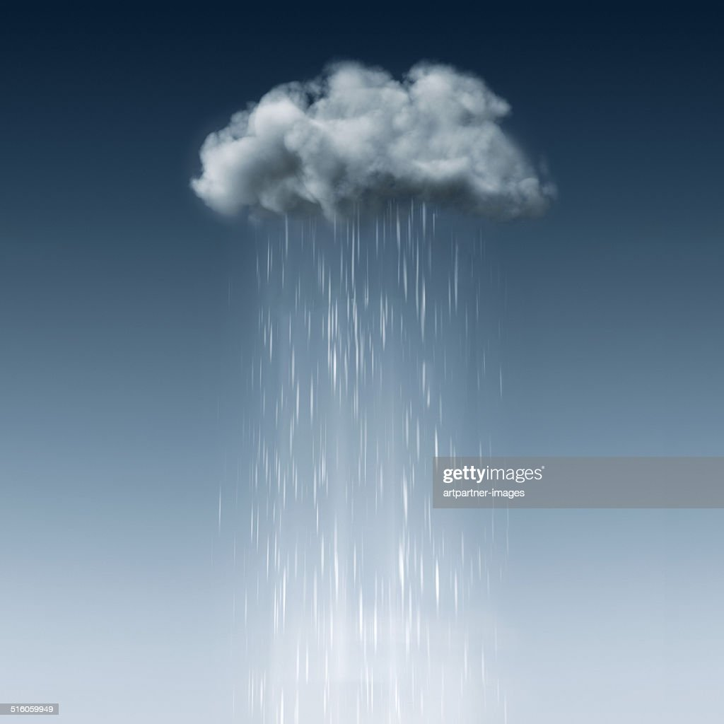 Small grey cloud in the blue sky with rain : Foto stock