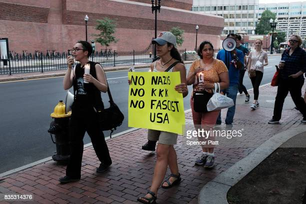 A small group attends a vigil and march at the New England Holocaust Memorial to denounce hate groups before a controversial rally tomorrow on August...