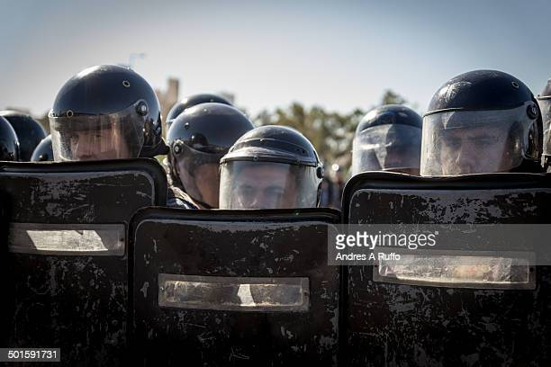 CONTENT] Editorial Use Only Córdoba Argentina May 29 2014 Small group of cops waiting for protesters in the city of Córdoba Argentina