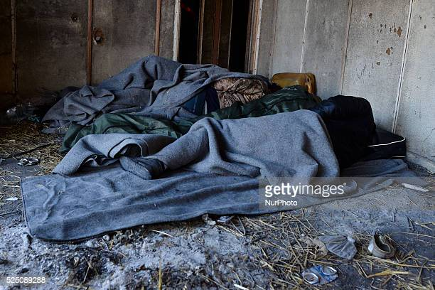 Small group of refugees occupate the abandoned house near the border between Greece and the Republic of Macedonia as awaiting to pass the border for...
