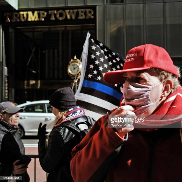 Small group of supporters of former president Donald Trump hold a rally in front of Trump Tower on March 08, 2021 in New York City. Trump, who has...