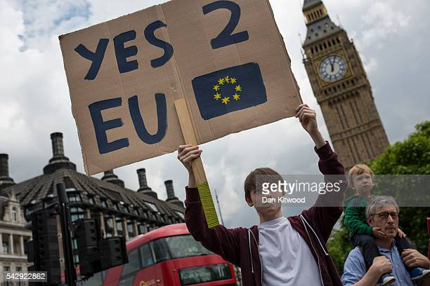 A small group of young people gather to protest on Parliament Square the day after a majority of the British public voted for leaving the European...
