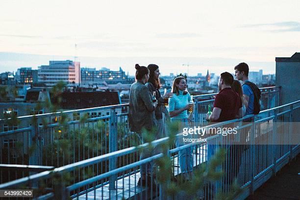 Kleine Gruppe junge Erwachsene, Dachterrasse sprechen und Trinken Bier, skyline