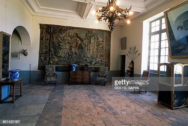 Small hall of the Chateau de Ravel Auvergne France