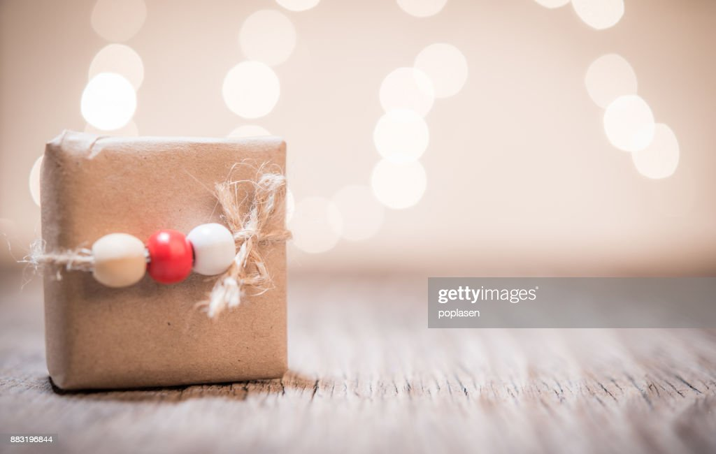 Small Handmade Gift Boxes In Shiny Lights Background And Space For