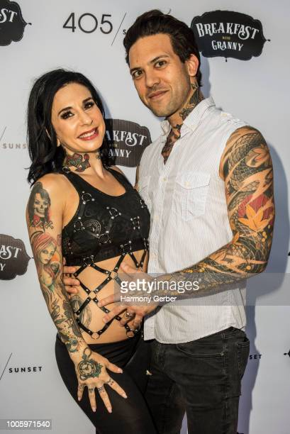 Small Hands and Joanna Angel attend the 405/Sunset's Reality Talk Show Breakfast With Granny Premiere at Raleigh Studios on July 26 2018 in Los...