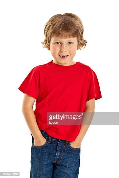 small happy boy in red shirt - red shirt stock pictures, royalty-free photos & images