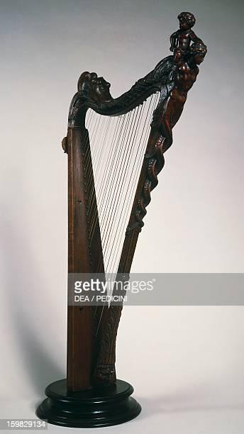 Small harp made by Antonio Stradivari Italy 17th century Napoli Conservatorio Di Musica San Pietro A Majella Museo Storico Musicale
