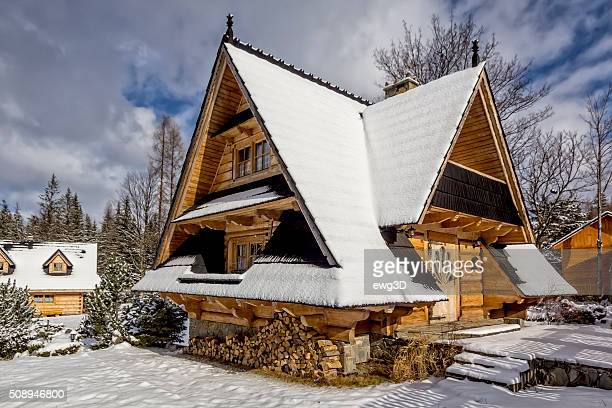 Small holiday chalet in winter, Poland