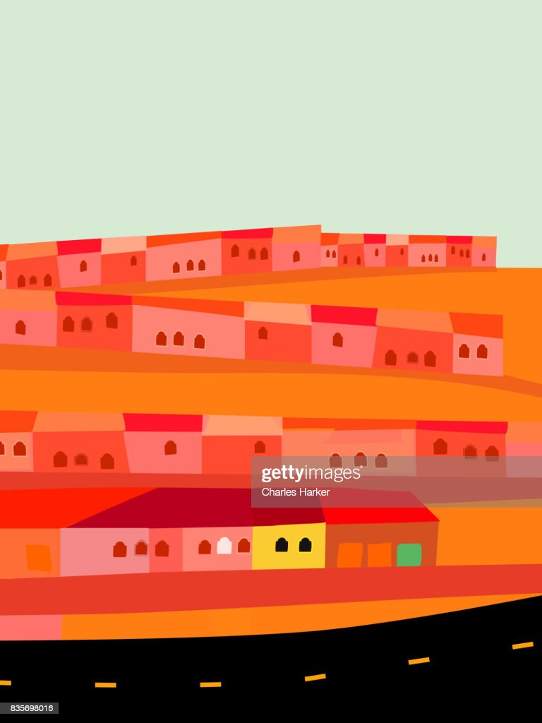 Small Houses by Empty Highway in Desert Illustration : Stock Photo