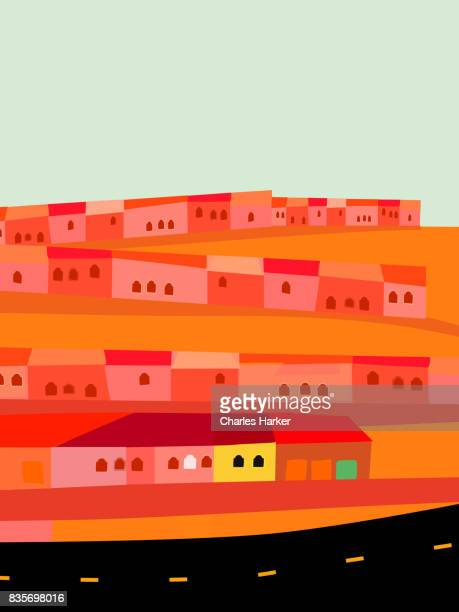 Small Houses by Empty Highway in Desert Illustration