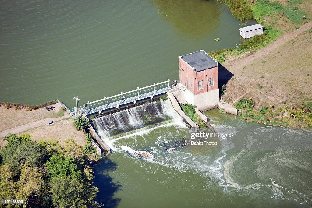 Mini Hydroelectric Dam : Small hydroelectric power plant and dam stock photo