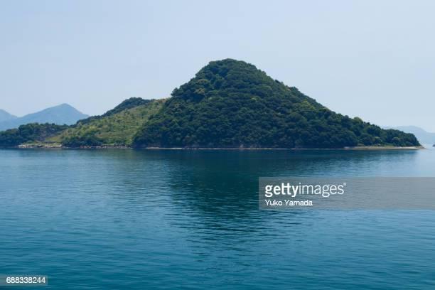 Small Island Calm Sea Over Blue Sky, Hiroshima, Japan