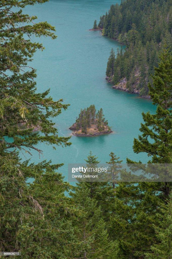 Small island in Diablo Lake, North Cascades National Park, Washington State, USA : Foto de stock