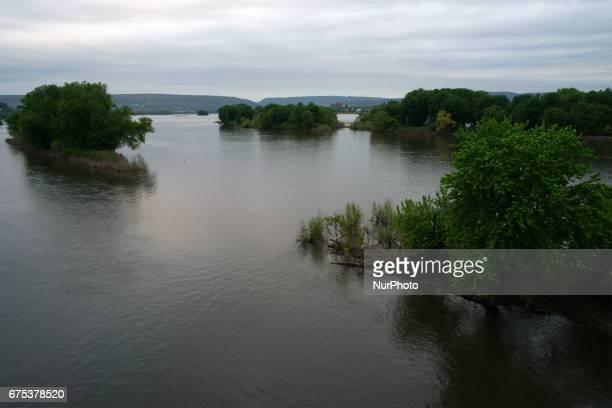 Small island North of the Harvey Taylor Bridge over the Susquehanna River near Harrisburg PA on the early morning of April 30 2017 Diminishing retail...