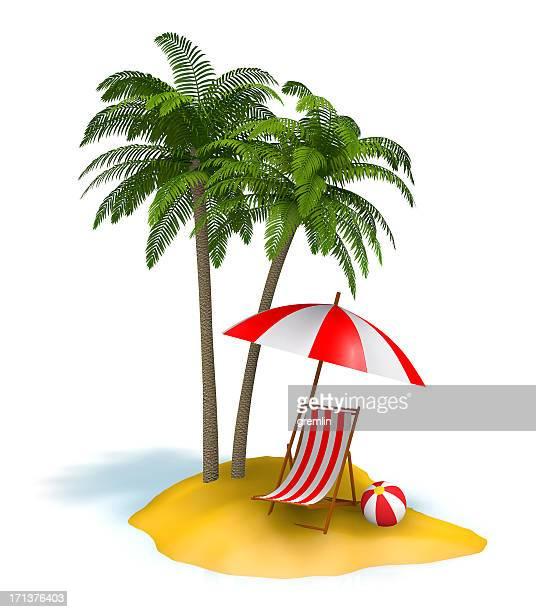 Isla pequeña con palmeras y silla de playa
