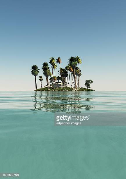 Small Island with Palm Trees and green Sea