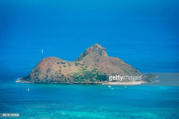 small island with white sand beach close to kailua. - kailua beach stock photos and pictures