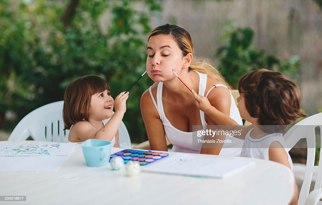 Small kids having fun outdoors : Stock Photo