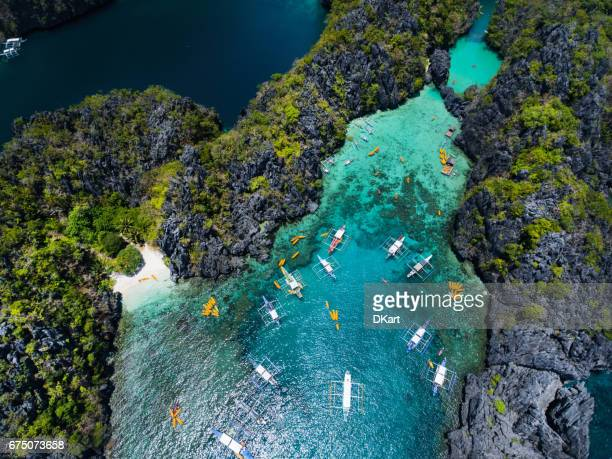 small lagoon in palawan - el nido stock pictures, royalty-free photos & images