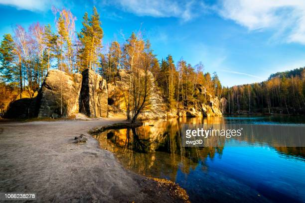 small lake in national park adrspach-teplice rocktown - bohemia czech republic stock pictures, royalty-free photos & images