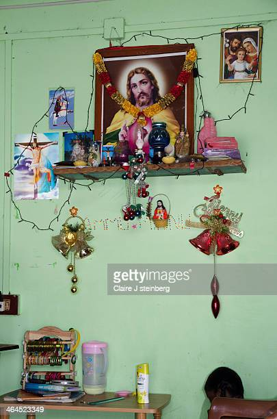 Small living room with religious artifacts