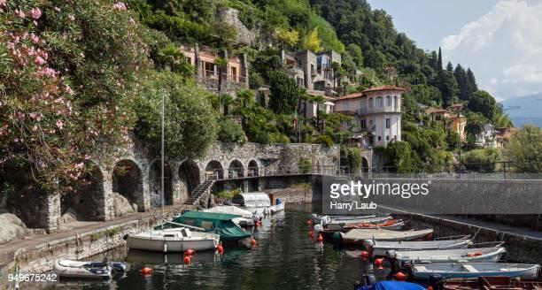 Small marina in Cannero Riviera, Lago Maggiore, Verbano-Cusio-Ossola Province, Piedmont Region, Italy