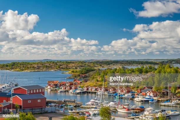 small marina on swedish west coast - gothenburg stock pictures, royalty-free photos & images