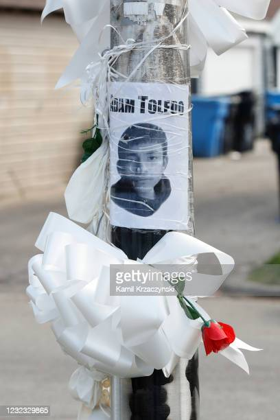 Small memorial is seen where 13-year-old Adam Toledo was shot and killed by a Chicago Police officer in the Little Village neighborhood on April 15,...