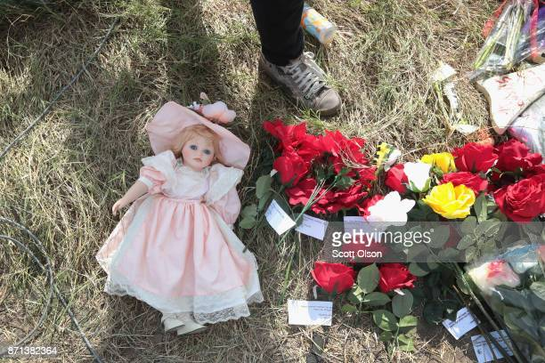 A small memorial sits along the road near the First Baptist Church of Sutherland Springs on November 7 2017 in Sutherland Springs Texas On November 5...