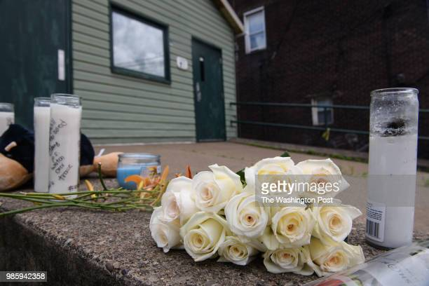 A small memorial sits near at the site where Antwon Rose II was killed by an East Pittsburgh police officer on Tuesday June 19