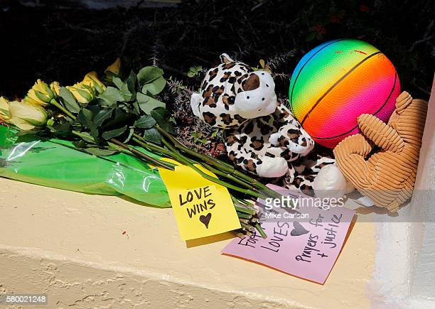 A small memorial sits outside of Club Blu where two people were killed and at least 15 were wounded during a shooting on July 25 2016 in Fort Myers...