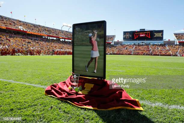 A small memorial was set up before a pregame moment of silence to honor Celia Barquin Aromzamena at Jack Trice Stadium on September 22 2018 in Ames...