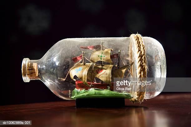 Small model ship in bottle, side view