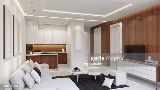 Small Modern Apartment Interior Living Room With Small ...