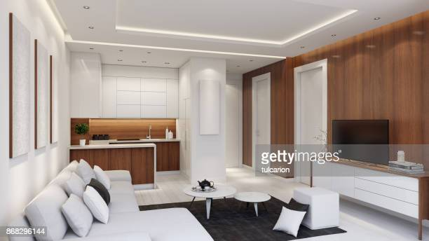 small modern apartment interior living room with small kitchen and with wood wall panels. - small stock pictures, royalty-free photos & images