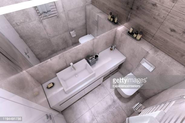 interior moderno pequeno do banheiro - pequeno - fotografias e filmes do acervo