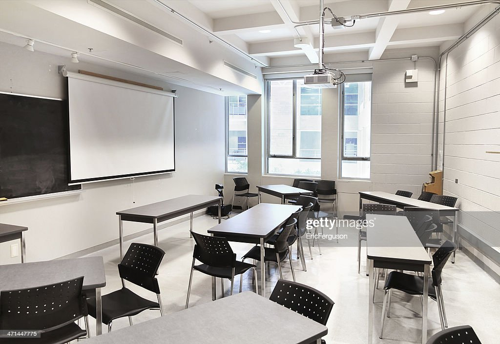 Modern College Classroom ~ Small modern university classroom stock photo getty images