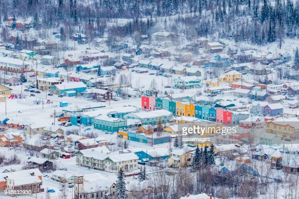 A small mountain town in winter,aerial shot.