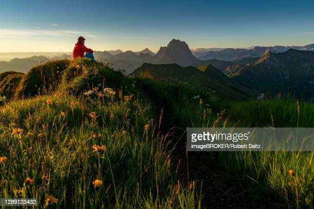small mountain trail with mountaineers and summits of the allgaeuer alps at sunrise, schoppernau, bregenzerwald, vorarlberg, austria - 1 minute 50 ストックフォトと画像