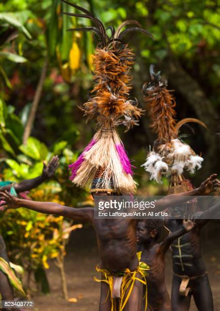 Small Nambas tribesmen with Big headdresses dancing during the palm tree dance Malekula island Gortiengser Vanuatu on August 25 2007 in Gortiengser...