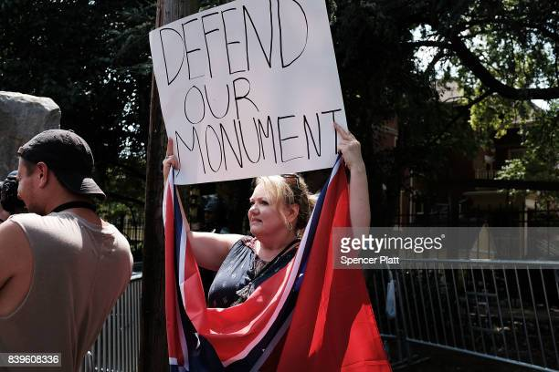A small number of proconfederate supporters face off against demonstrators against a Confederate memorial monument in Fort Sanders on August 26 2017...