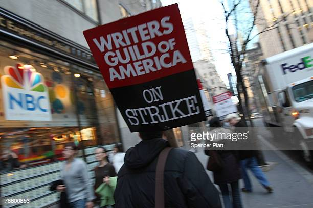 A small number of striking writers showedup to picket in front of NBC studios January 7 2008 in New York City The ongoing strike is threatening both...