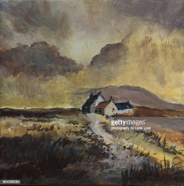 small oil painting of Scotland scene