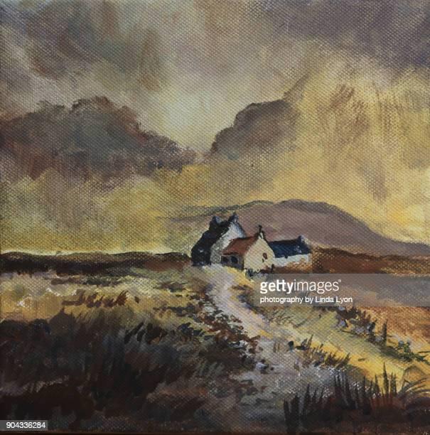 small oil painting of scotland scene - pintura a óleo imagem pintada - fotografias e filmes do acervo