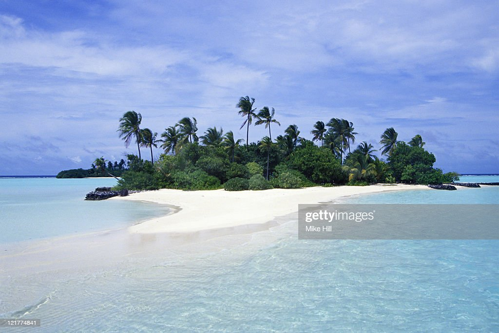 Small palm covered Tropical Island, Seychelles : Stock Photo